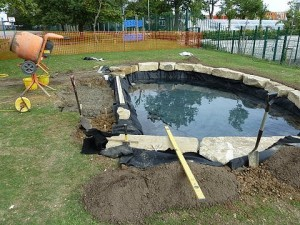 Lodge Farm School Stevenage, Pond Construction